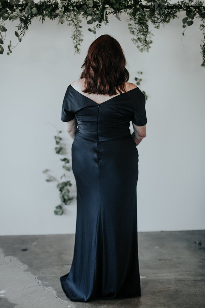 navy off the shoulder mother of the bride dress