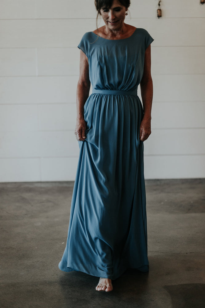 blue long mother of the bride gown