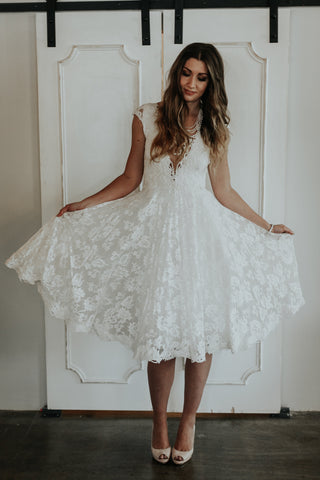 short lace illusion neckline dress for wedding reception