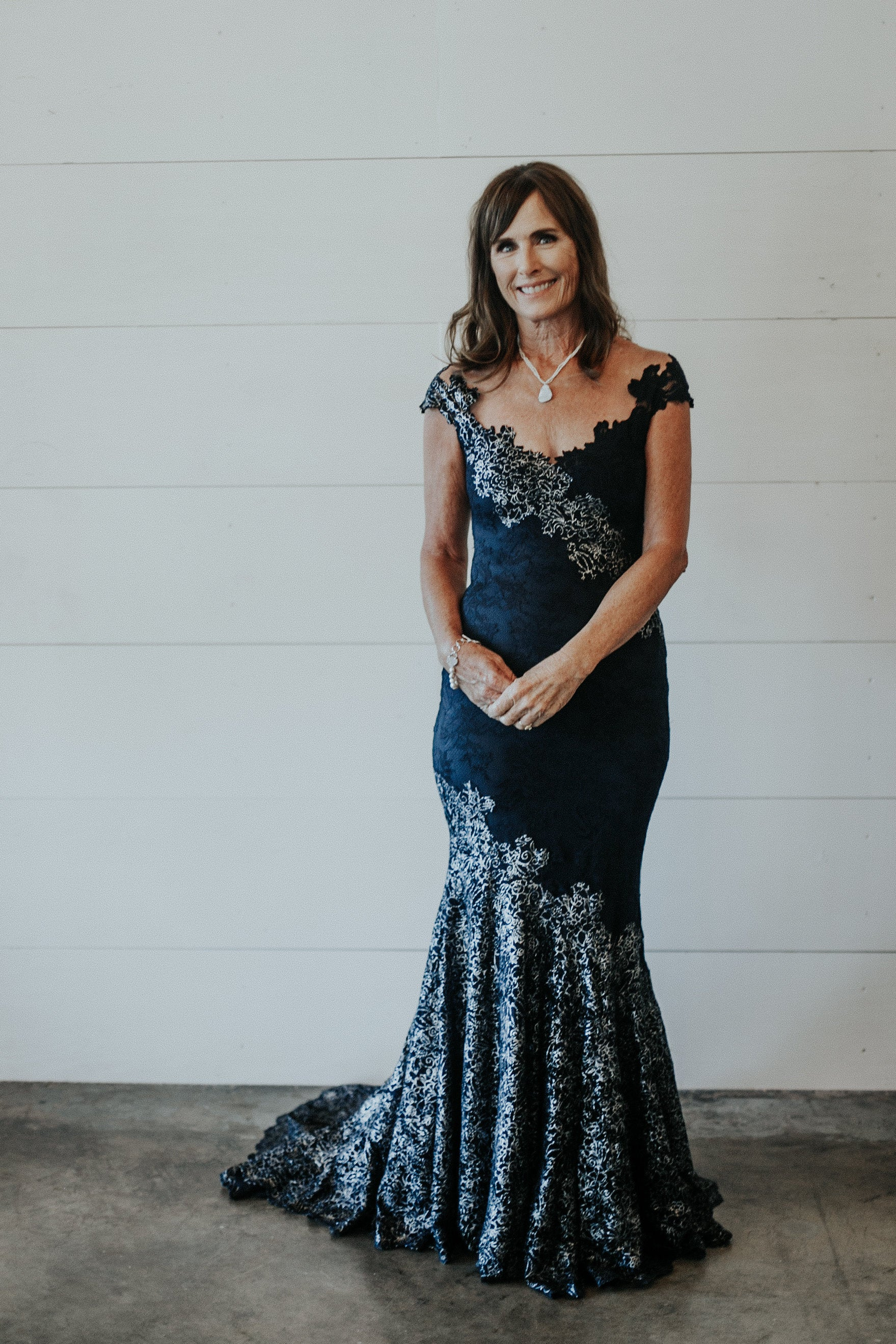 Navy and Silver Lace Mother of the Bride Dress | Denver Bridal Shop
