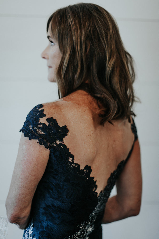 navy and silver lace mother of the bride dress