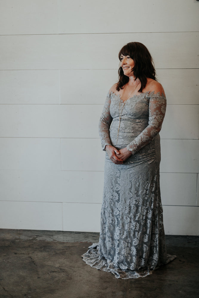 long sleeve off the shoulder grey lace mother of the bride dress