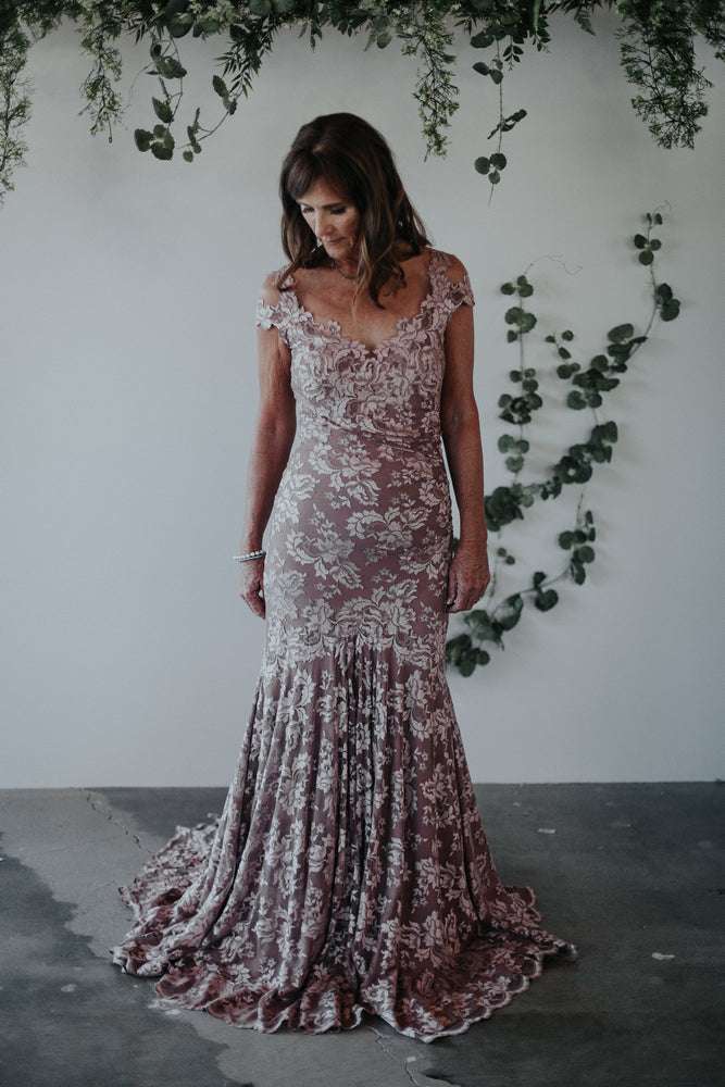 lace blush mother of the bride gown