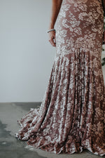 long lace blush mother of the bride dress