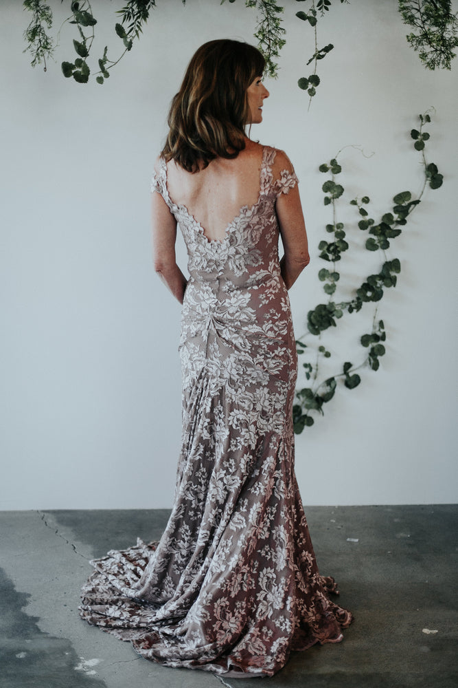 back of blush lace mother of the bride dress
