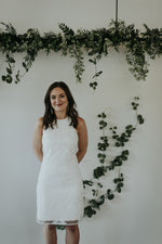 ivory beaded short wedding rehearsal dress