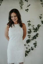 ivory beaded short wedding reception dress
