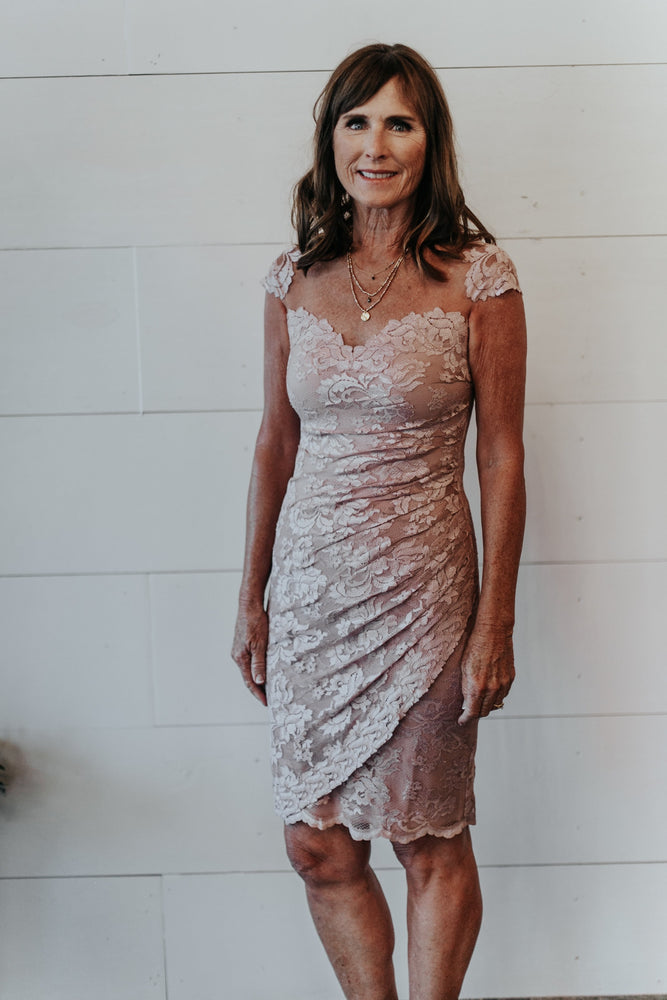 blush lace mother of the bride dress