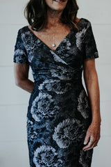 floral v neck mother of the bride dress