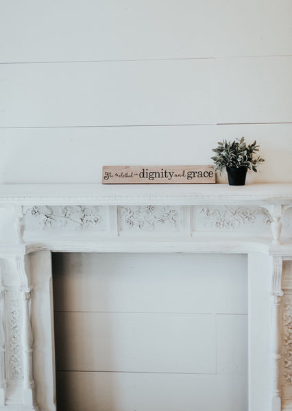 she is clothed with dignity and grace wedding sign