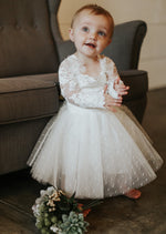 lace long sleeve flower girl dress