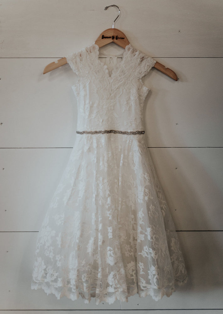 ivory lace flower girl dress