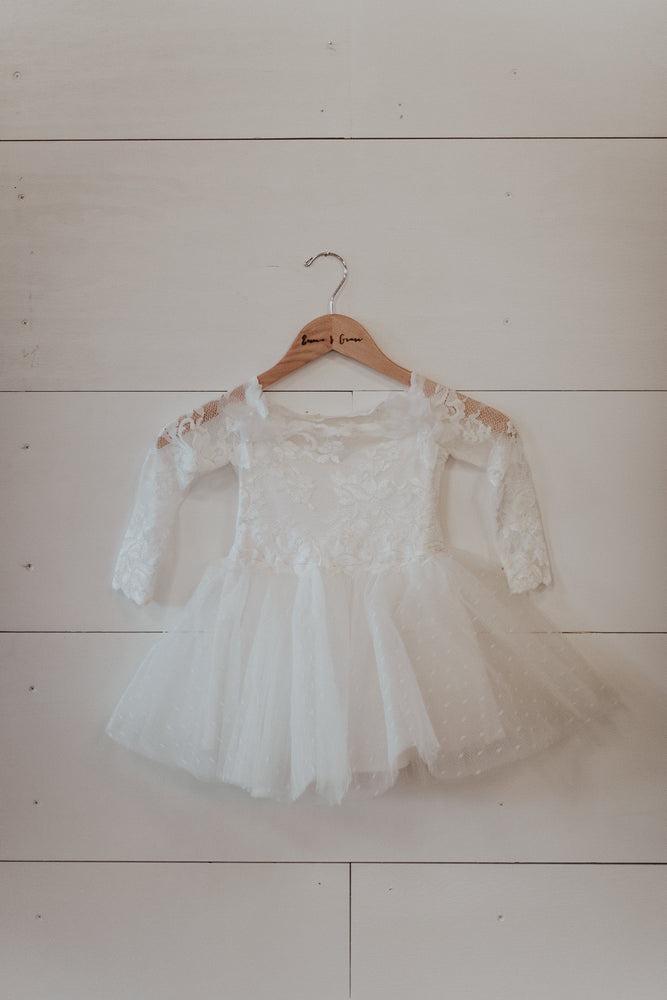 white lace long sleeve flower girl dress