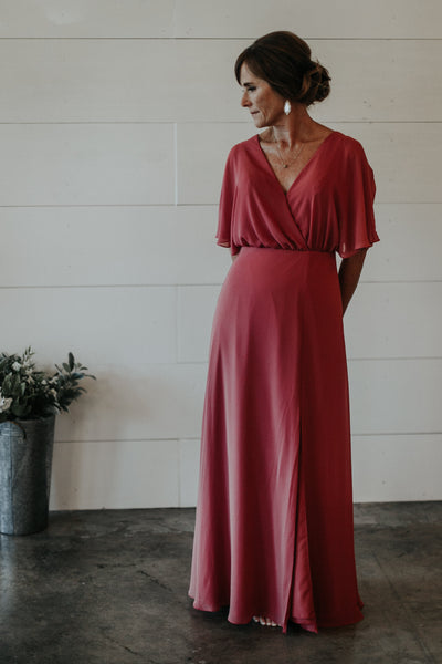 rose mother of the bride gown with flutter sleeves