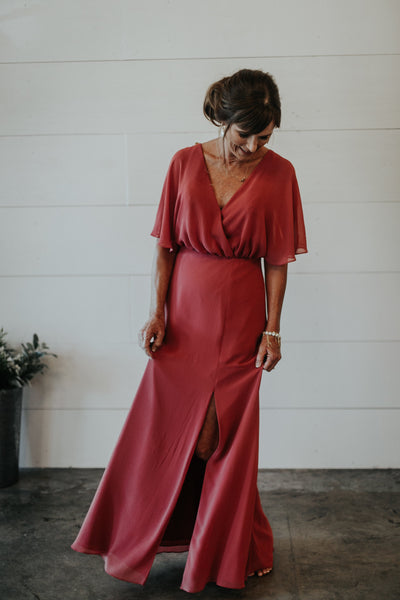 rose mother of the bride dress with flutter sleeves