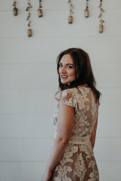 nude and white lace dress for wedding rehearsal