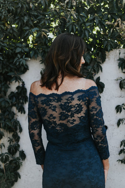back of lace illusion neckline mother of the bride dress