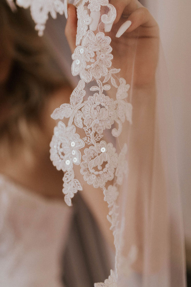 Gardenia Floral Applique Cathedral Veil