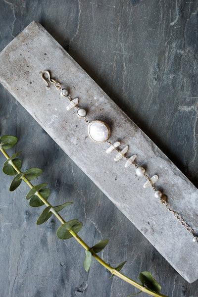 moonstone and pounded silver bracelet