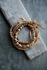 Layered Amber and Bronze Bracelet