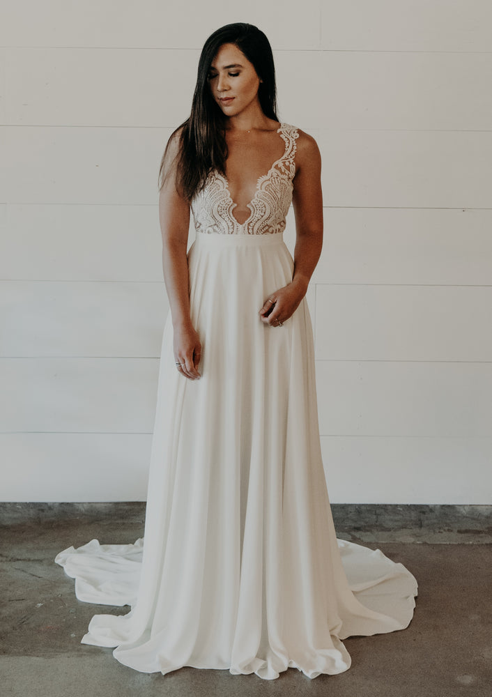 Bohemian Sparkle Lace and Chiffon Aline Gown