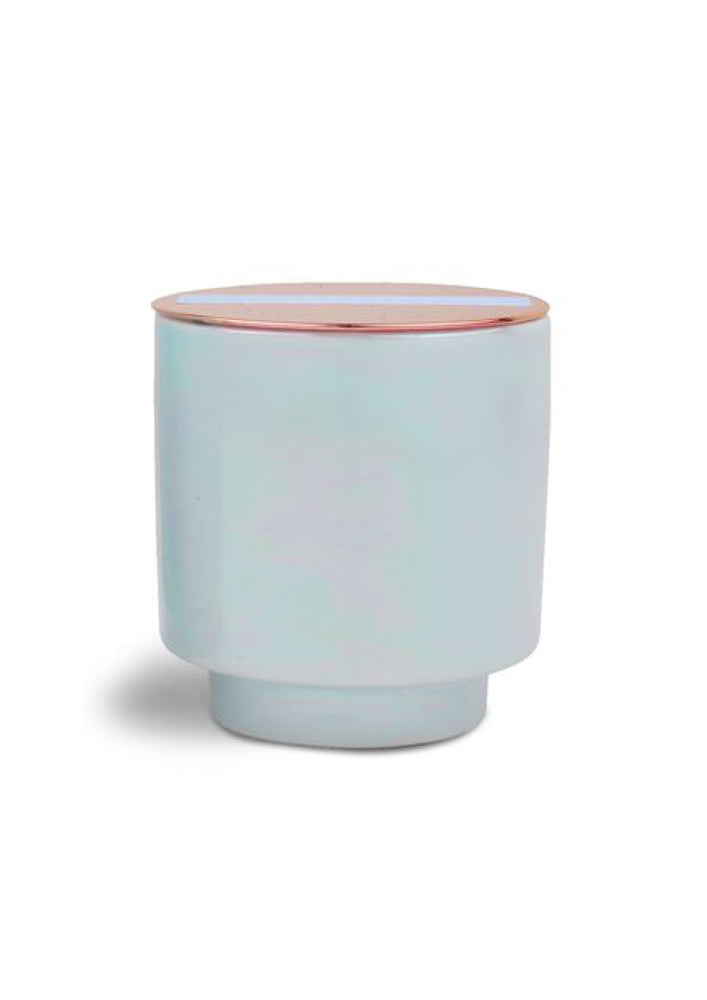 Sea Salt + Plumeria Mini Iridescent Blue Candle
