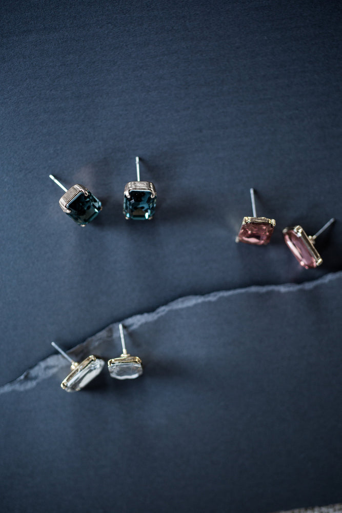 Three colors of emerald cut studs