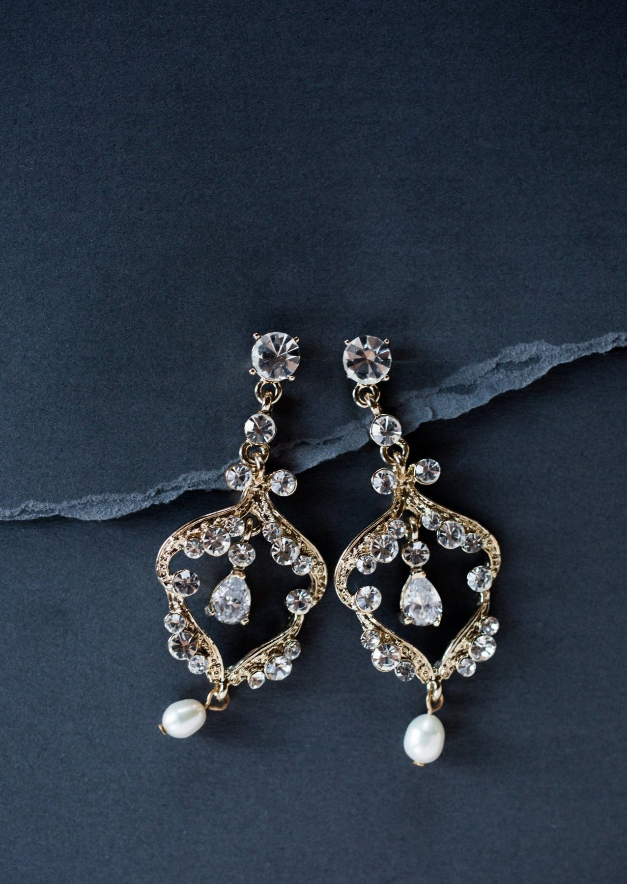 Crystal chandelier earrings bridal jewelry denver bridal shop gold crystal chandelier earrings arubaitofo Choice Image