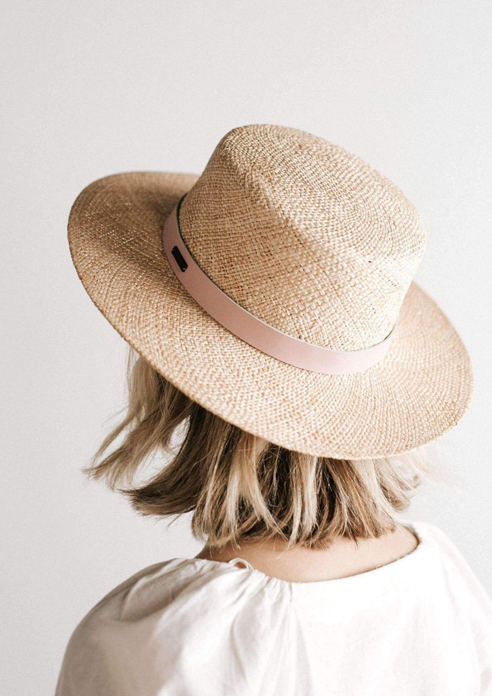 Gigi Pip Brae Straw Boater Hat with Nude Leather Band