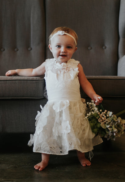 ivory flower girl dress with flowers