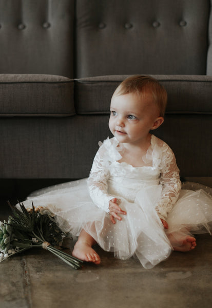 ivory lace long sleeve flower girl dress