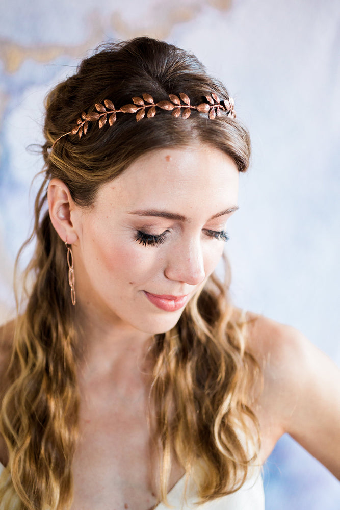 bronze vine headband on model