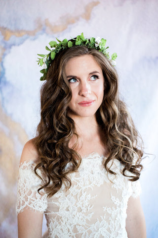 faux flower crown on model