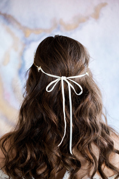 back of gold floral halo