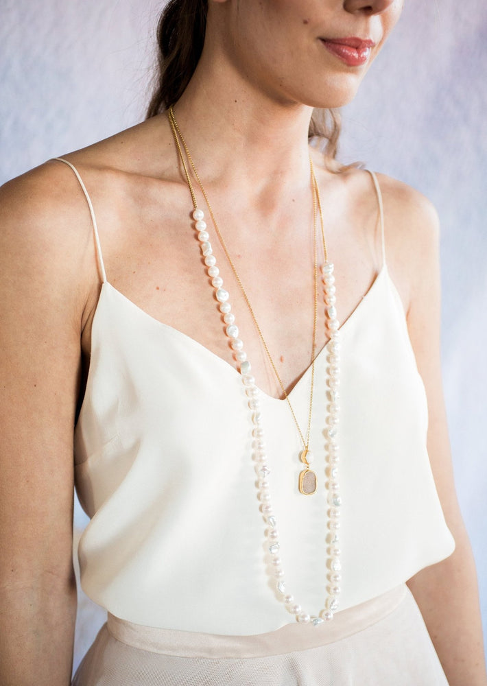 Pearl and Pendant Necklace on model