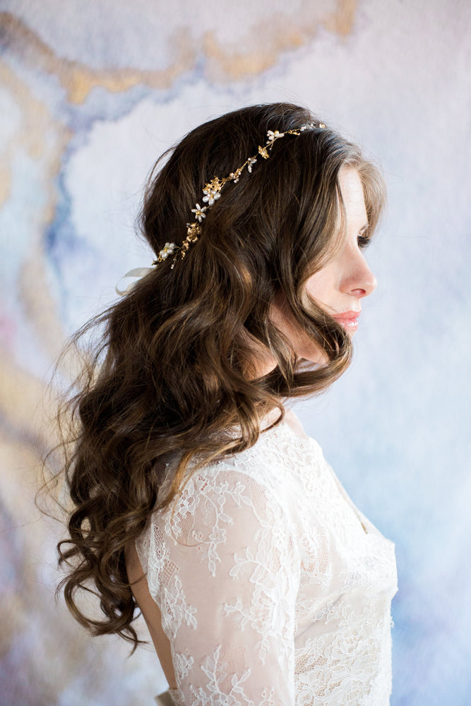 Gold and Pearl Blooms headpiece on model