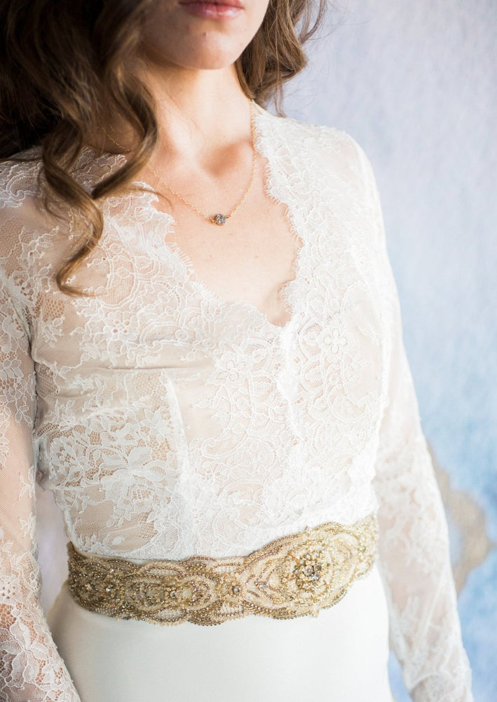 beaded gold belt