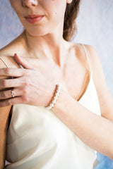pearl and leather bracelet on model