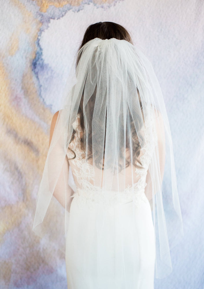 back of simple wedding veil
