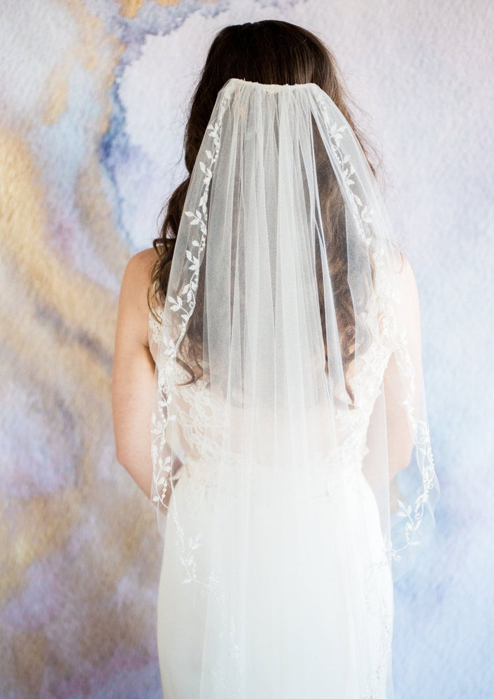 back of flora wedding veil