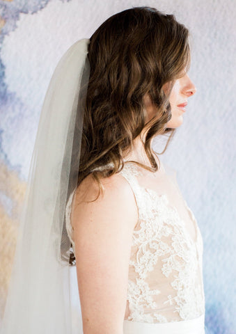 side view of bella wedding veil
