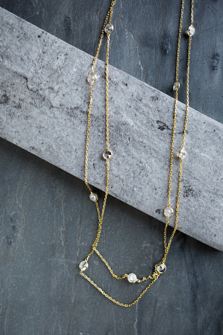 Dainty Gold and Crystal Necklace