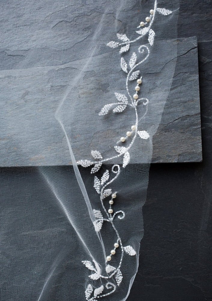 close up of flora wedding veil