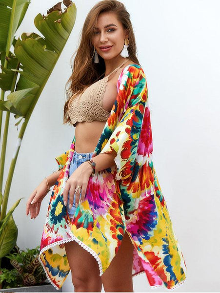 Women Fashion Multicolor Tie-dyed Printed Shawl Dress