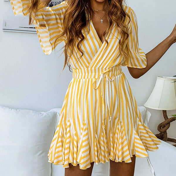 Women Vintage Striped V Neck Ruffle Sexy Casual Mini Dress