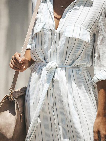 Simple Bohemia Striped Shirt Maxi Dress