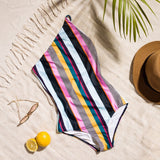 New Colorful Vertical Stripe One Piece Swimsuit