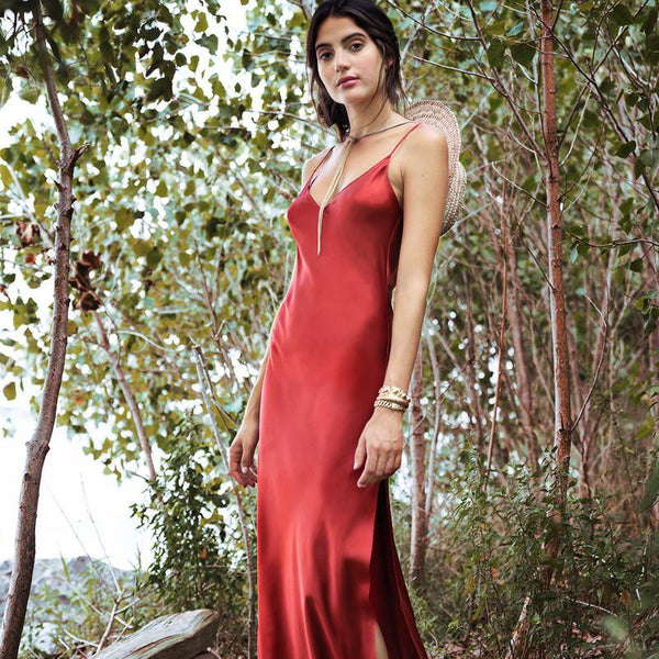 Women Sleeveless Sexy V-neck Backless Spaghetti Strap Maxi Dress