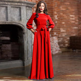 Women Summer Lantern Sleeve Solid Maxi Dress