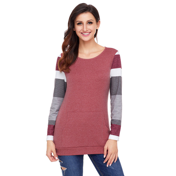 Women O-neck Long Sleeve Striped Pullover Plus Size Sweatshirts